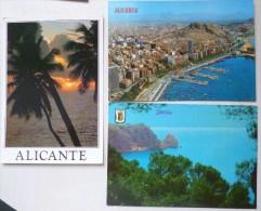 LOT 3X ESPAGNE ALICANTE AMANECER  JAVEA  SOUVENIR MULTI VUES VOYAGE TIMBRES - España