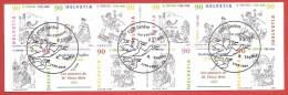 SVIZZERA LIBRETTO USATO FDC - 1999 - Fumetti - Rudolphe Topffer - 90 Cent. X 10 - Michel CH MH113 - ANN. SPECIALE Geneve - Blocchi & Foglietti