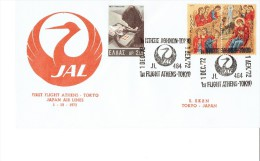 GREECE TO JAPAN 1972 - FDC JAL FIRST FLIGHT ATHENS-TOKYO JL 464 DEPART DEC 1,1972 W 3 STS: 1 OF  2,50 DR(STAMP COLLECTIN - FDC