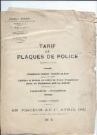 Catalogue/Tarif/Plaques De Police / Automobile/Paris/ 1931   CAT86 - Cars