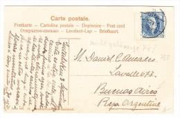 Schweiz 3.9.1904 Interlaken AK Gesendet Nach Buenos-Aires Mit Zu.#73E - 1882-1906 Stemmi, Helvetia Verticalmente & UPU