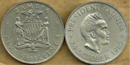 ZAMBIA 5  SHILLINGS EMBLEM BIRD FRONT & KAUDA 1ST ANN OF IND. BACK 1965 AUNC KM4 READ DESCRIPTION CAREFULLY !!! - Zambie