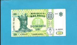MOLDOVA - 20 LEI - 2002 - Pick 13 - RARE - Serie D.0059 - Republica - Moldova