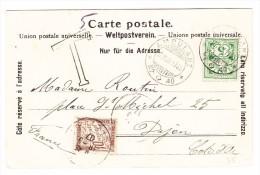 Schweiz 17.6.1907 Ambulant #40 Auf AK Interlaken Taxiert 10Cts. In F. - 1882-1906 Armoiries, Helvetia Debout & UPU