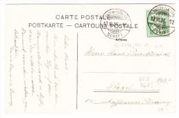 Schweiz Schiffstempel Luzern-Fluelen 13.6.1905 Auf AK Nach Basel - 1882-1906 Stemmi, Helvetia Verticalmente & UPU