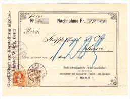 Schweiz 20.5.1898 Bern Auf Nachnahme Ges. Zur Herstellung Alkoholfreie Weine Nach Sursee - 1882-1906 Stemmi, Helvetia Verticalmente & UPU