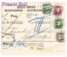 Schweiz Paketkarte 29.7.1900 Zürich  Nach Ungarn Mit Zu.#65, 69, 74 U. 71 - 1882-1906 Armoiries, Helvetia Debout & UPU