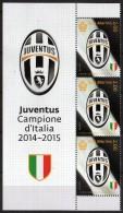 San Marino 2015 Juventus Football Club 2014-2015 Italian Championship Winning Team 3 Stamp With Label - Famous Clubs