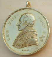 Mad-1062 Imposante Médaille (bélière Inversée) Regina Sine.labe;Originali.ora.pronobis Au Dos Léo XIII - Religion & Esotericism