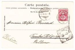 Schweiz Zu.#83B 17.2.1906 Neuveville Auf AK Nach Italien - Attest Renggli - 1882-1906 Wappen, Stehende Helvetia & UPU