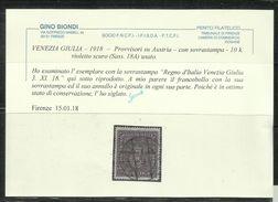 VENEZIA GIULIA 1918 SOPRASTAMPATO AUSTRIA OVERPRINTED 10 K CORONE USATO USED OBLITERE' CERTIFICATO - 8. Occupazione 1a Guerra