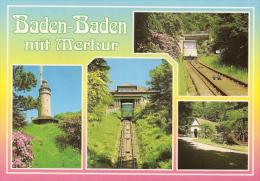 Baden Baden - Mehrbildkarte 38   Bergbahn Merkur - Baden-Baden