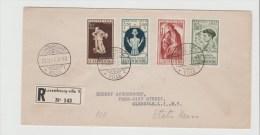 Luxemburg 004   Kriegsgeschädigte, / Caritas 1945 Sehr Seltener  Einschreiben FDC Nach USA - Briefe U. Dokumente