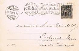 Très Rare Cachet US POSTAL STATION PARIS 1900, OBLITÉRATION PENDANT LES JEUX OLYMPIQUES