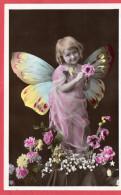Cpa Petite Fille Aux Ailes De Papillon - Niños