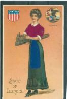 Gaufrée - Relief - Embossed - Prage - Femme Et Train électrique - Etats-Unis