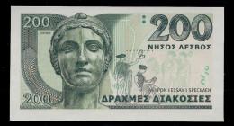 """""""GREECE 200 Units"""", Entwurf, Beids. Druck, RRRR, UNC, Ca. 134 X 72 Mm, Essay, Trial - Grecia"""