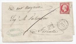 "- Lettre - BFE EGYPTE - ALEXANDRIE - PC.3704 S/TPND Napoléon III N° 17Ba + Càd T.15 + ""PD"" Encadré  - 1861 - 1853-1860 Napoléon III."