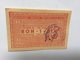 YUGOSLAVIA - JUGOSLAWIEN: 1 Dinar ND1945-50th UNC * POW -ZEMUN, Campbell 9151, Handsigned - Jugoslawien