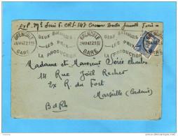 """Lettre-flamme """"-grenoble Gare-deux Batailles  Prix Production-"""" 24 Mai 1947affr 4,5frs Marianne De Gandon - Maschinenstempel (Werbestempel)"""