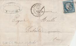 Partie Lettre Yvert  60A Piquage Décalé LANGRES Haute Marne 27/5/1875 Pour Labastide Rouairoux Tarn  Ambulant X 2 - 1849-1876: Periodo Clásico