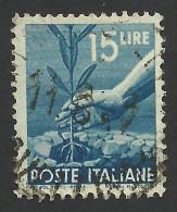 Italy, 15 L. 1946, Sc # 473A, Mi # 699, Used - 5. 1944-46 Lieutenance & Umberto II