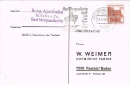 13687. Tarjeta BAD MERGENTHEIM (Alemania Federal) 1966. Burg Apotheke.  Farmacia - Cartas