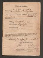 España Hoja De Concentración Reclutas En Caja 1918 - Documentos