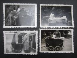 LOT 4 PHOTOS BELGIQUE (M1518) POUSSETTES (2 Vues) 1946 - Places