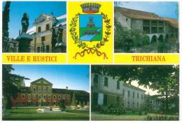 # CARTOLINA VENETO TRICHIANA (BL) VILLA ALPAGO, RUSTICO A PIALDIER, VILLA AGOSTI, VILLA PILONI VIAGGIATA 1995 VERSO TORI - Italia