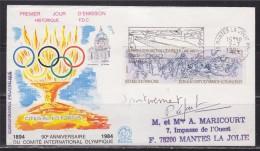 1er Jour Flamme Stade Nautique International De Mantes La Jolie 2.7.84 Signature Patrick Lefoulon N°2314 JO Los Angeles - Marcophilie (Lettres)