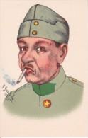 AK Soldat Mit Zigarette - Künstlerkarte R. Gautschi - Schweizer Armee - Patriotika  (16659) - Humor