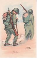 AK 70 Km - Künstlerkarte W. Thrier 1924 - Schweizer Armee - Patriotika  (16660) - Humor
