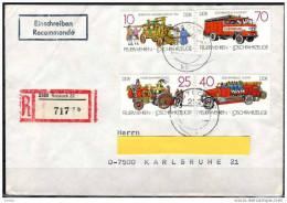 DDR 1987 - Feuerwehr,  Fire Brigade - Reko Brief Rostock Nach Karlsruhe - Feuerwehr