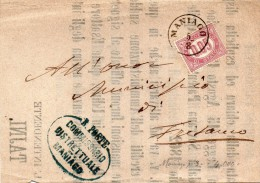 1875 LETTERA CON ANNULLO MANIAGO PORDENONE - Steuermarken