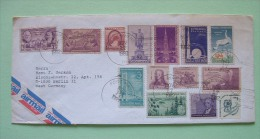 USA 1982 Cover To Germany - Many Old Stamps - Birds Cranes World Fair Hawaii Statue Bridge Map Monroe Minnesota - Lettres & Documents