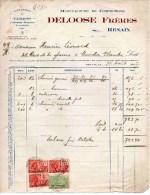 RENAIX-DELOOSE FRERS-31-8-1927-MANUFACTRE DE CONFECTIONS - Fiscali