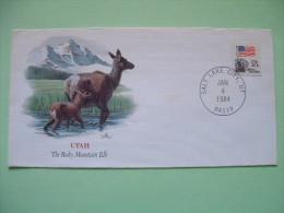 USA 1984 Special Cover - Salt Lake City - Flag - Utah - Rocky Mountain Elk - United States