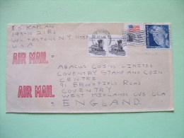 USA 1985 Cover To England - Train - Flag - Eleanor Roosevelt - Etats-Unis