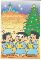 BRAZIL 2002 - Aerogram Christmas (used) - Children's Drawings, Church Song - Noël