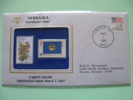 USA 1986 State Bird, Flower And Flag (Bicentennial) - Nebraska Western Meadowlark And Goldenrod - Lettres & Documents