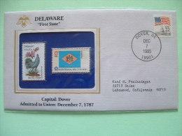USA 1986 State Bird, Flower And Flag (Bicentennial) - Delaware Blue Hen Chicken And Peach Blossom - Rooster - Etats-Unis