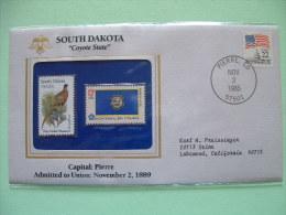 USA 1986 State Bird, Flower And Flag (Bicentennial) - South Dakota Ring-Necked Pheasant And Pasqueflower - Etats-Unis