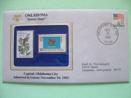 USA 1986 State Bird, Flower And Flag (Bicentennial) - Oklahoma Scissor-tailed Flycatcher And Mistletoe - Etats-Unis
