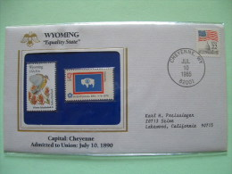 USA 1985 State Bird, Flower And Flag (Bicentennial) - Wyoming Western Meadowlark And Indian Paintbrush - Buffalo - Etats-Unis