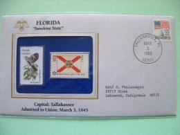 USA 1985 State Bird, Flower And Flag (Bicentennial) - Florida Mockingbird And Orange Blossom - Etats-Unis