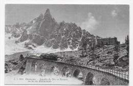 (RECTO / VERSO) CHAMONIX - N° 8555 - AIGUILLE DU DRU ET CHEMIN DE FER DU MONTENVERS AVEC TRAIN - BEAU CACHET HOTEL - Chamonix-Mont-Blanc