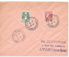 LETTRE. CACHET RALLYE AERIEN CHAMPAGNE..1947....TBE.. - Marcophilie (Lettres)