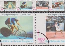 Guinée équatoriale 1996 Y&T 346/9. Annulations Comptables Pour La Presse Philatélique. Jeux D´Atlanta. Cyclisme, Tennis - Jumping