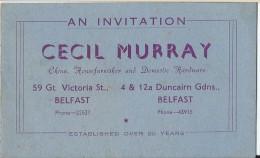 Calendrier /Carte D'invitation/ Cecil MURRAY/Belfast / Irlande/Objets De Curiosité/1954-55  CAL212 - Calendars